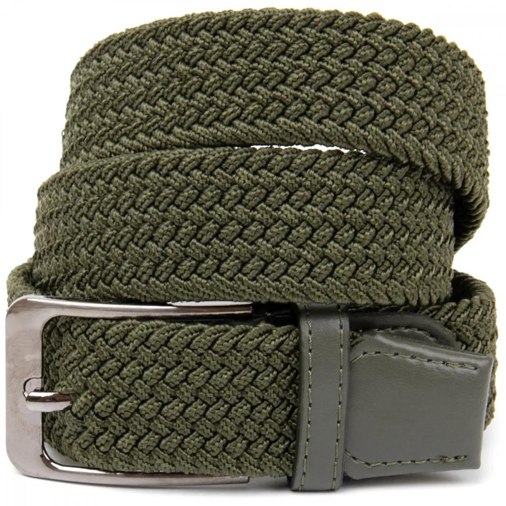 Ремень-резинка текстильный плетёный батал 40мм хаки