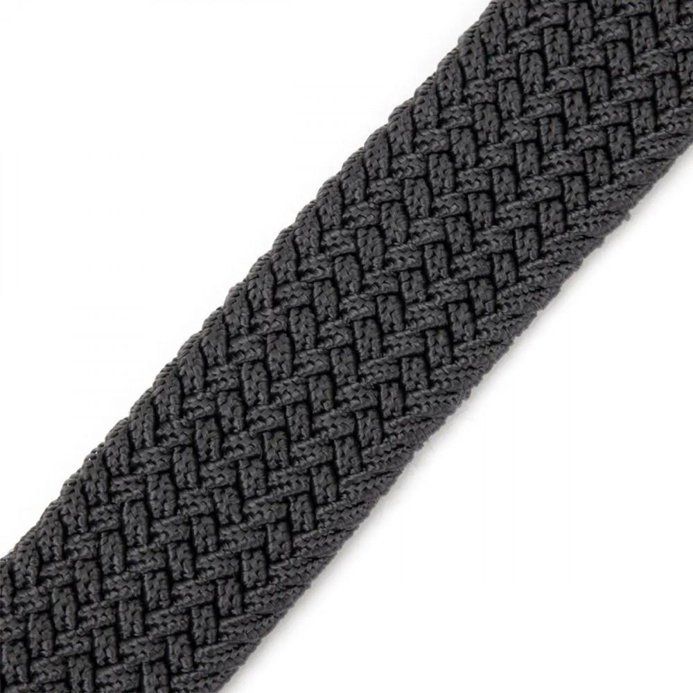 Ремень-резинка текстильный плетёный батал 35мм серый