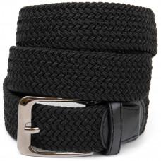 Ремень-резинка текстильный плетёный батал 35мм черный