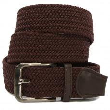 Ремень-резинка текстильный плетёный батал 35мм коричневый