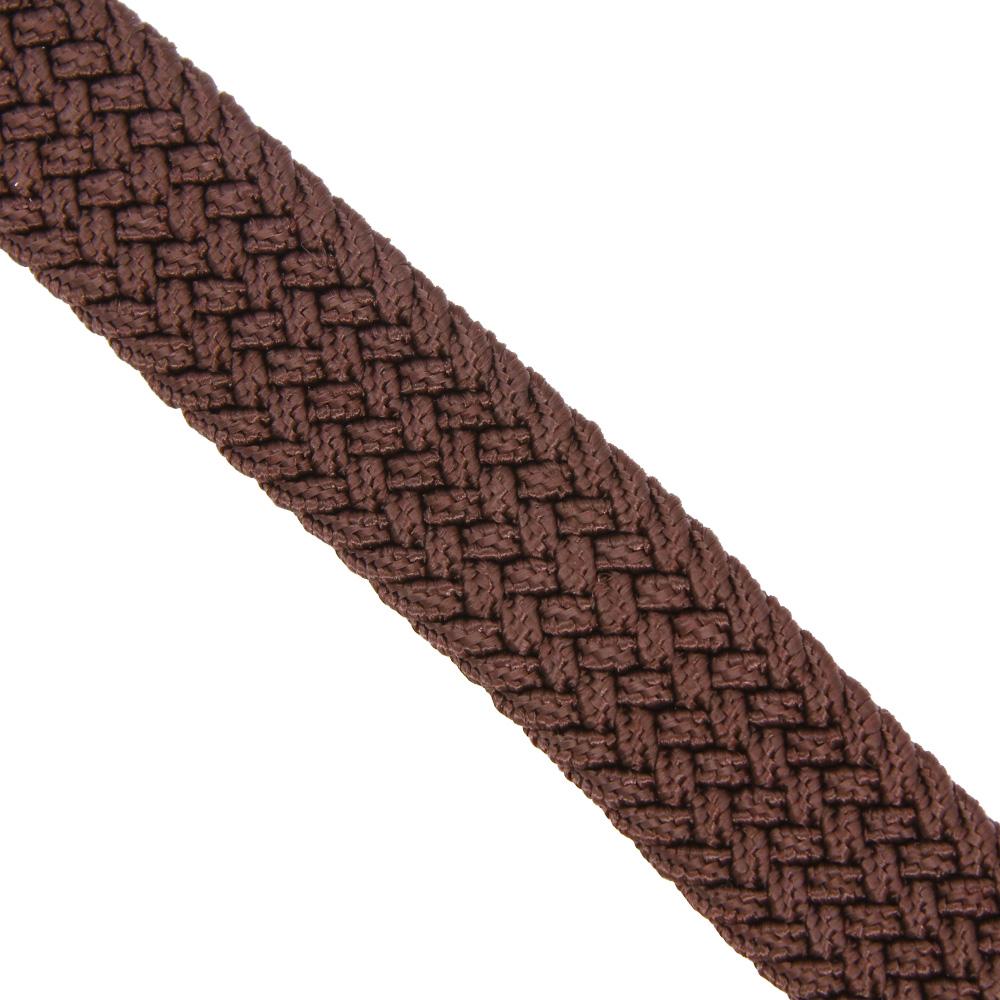 Ремень-резинка текстильный плетёный 25 мм коричневый (шоколад)