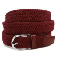 Ремень-резинка текстильный плетёный 25 мм бордовый