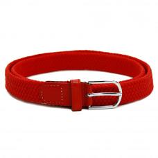 Детский ремень-резинка текстильный плетёный 25 мм красный
