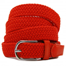 Ремень-резинка текстильный плетёный 25 мм красный