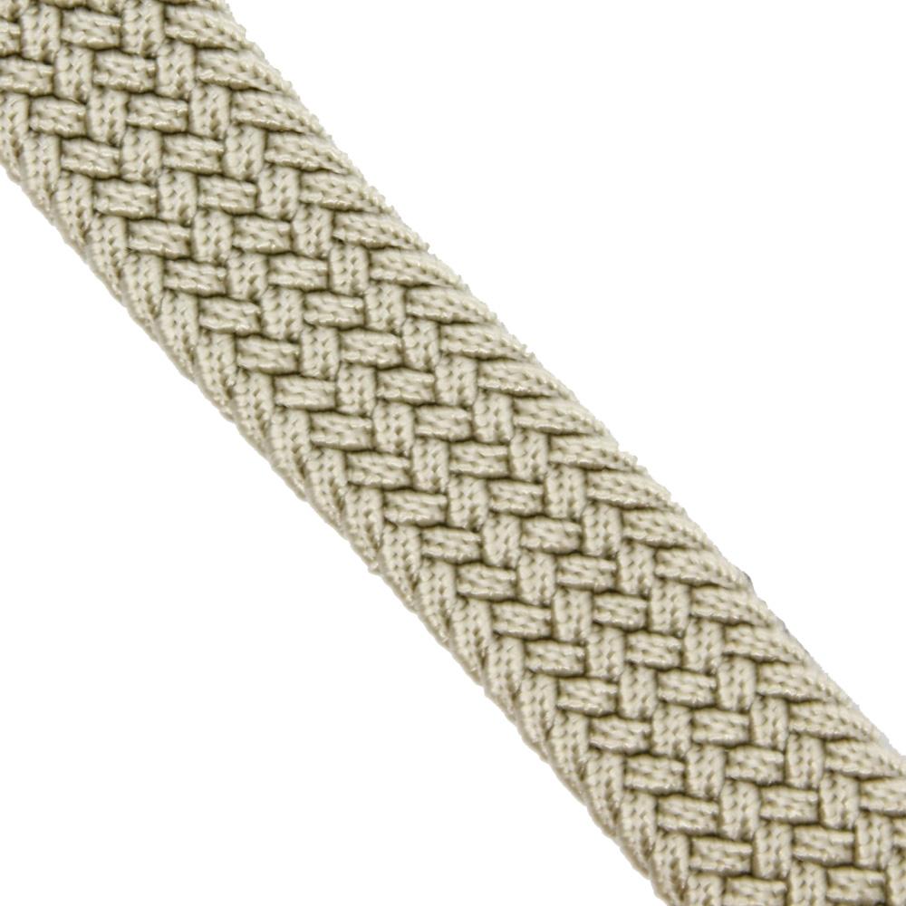Детский ремень-резинка текстильный плетёный 25 мм бежевый