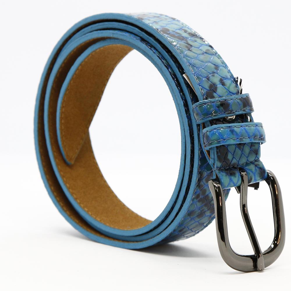 Кожаный ремень 6336 Голубой