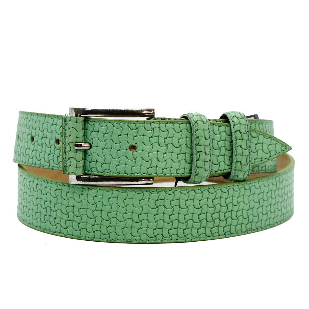 Кожаный ремень 6522 Светло-зеленый