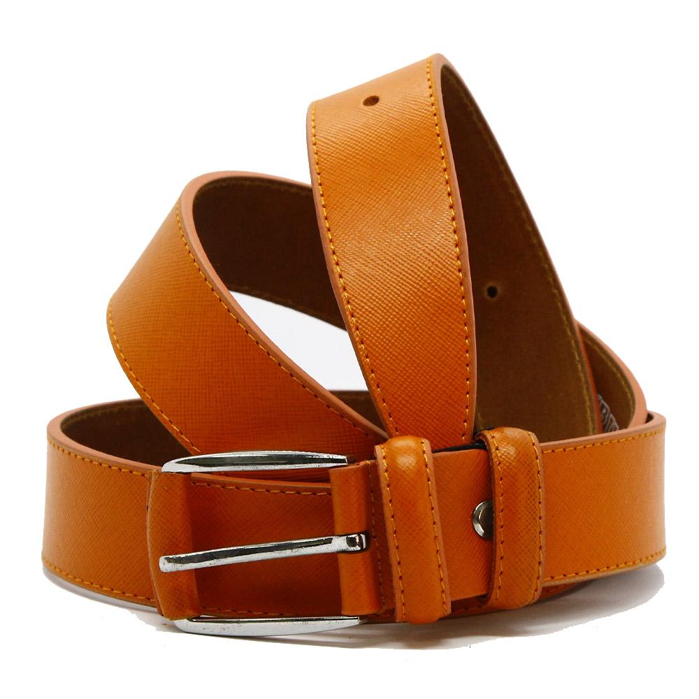 Кожаный ремень 6534 Оранжевый