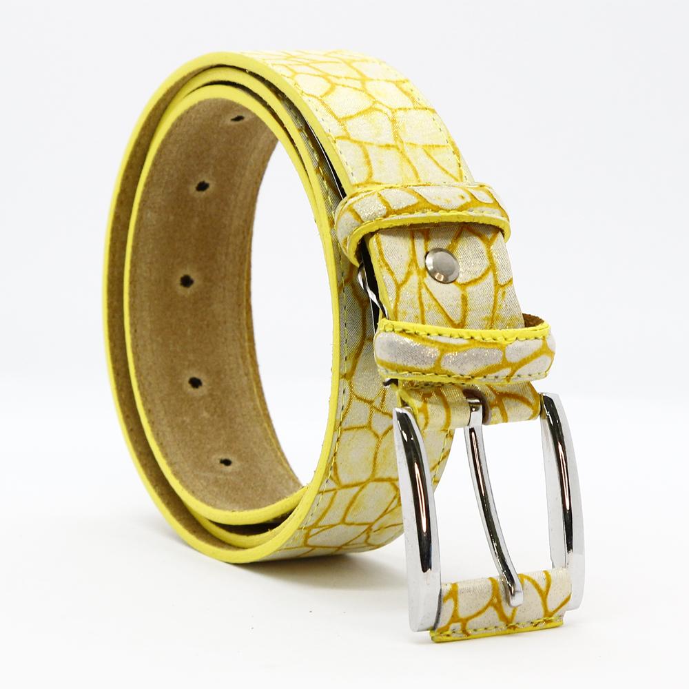 Кожаный ремень 6648 Желтый