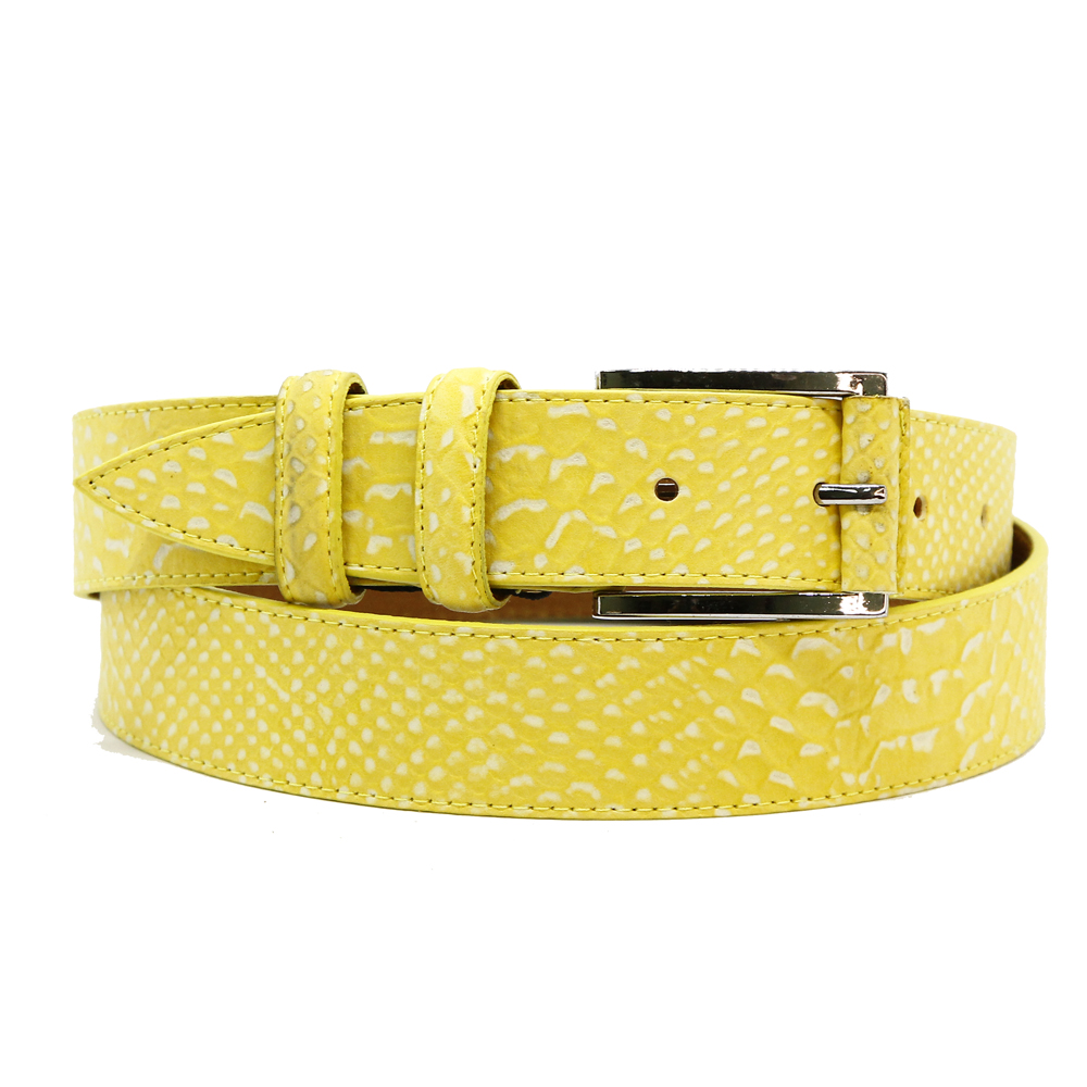 Кожаный ремень 6654 Желтый