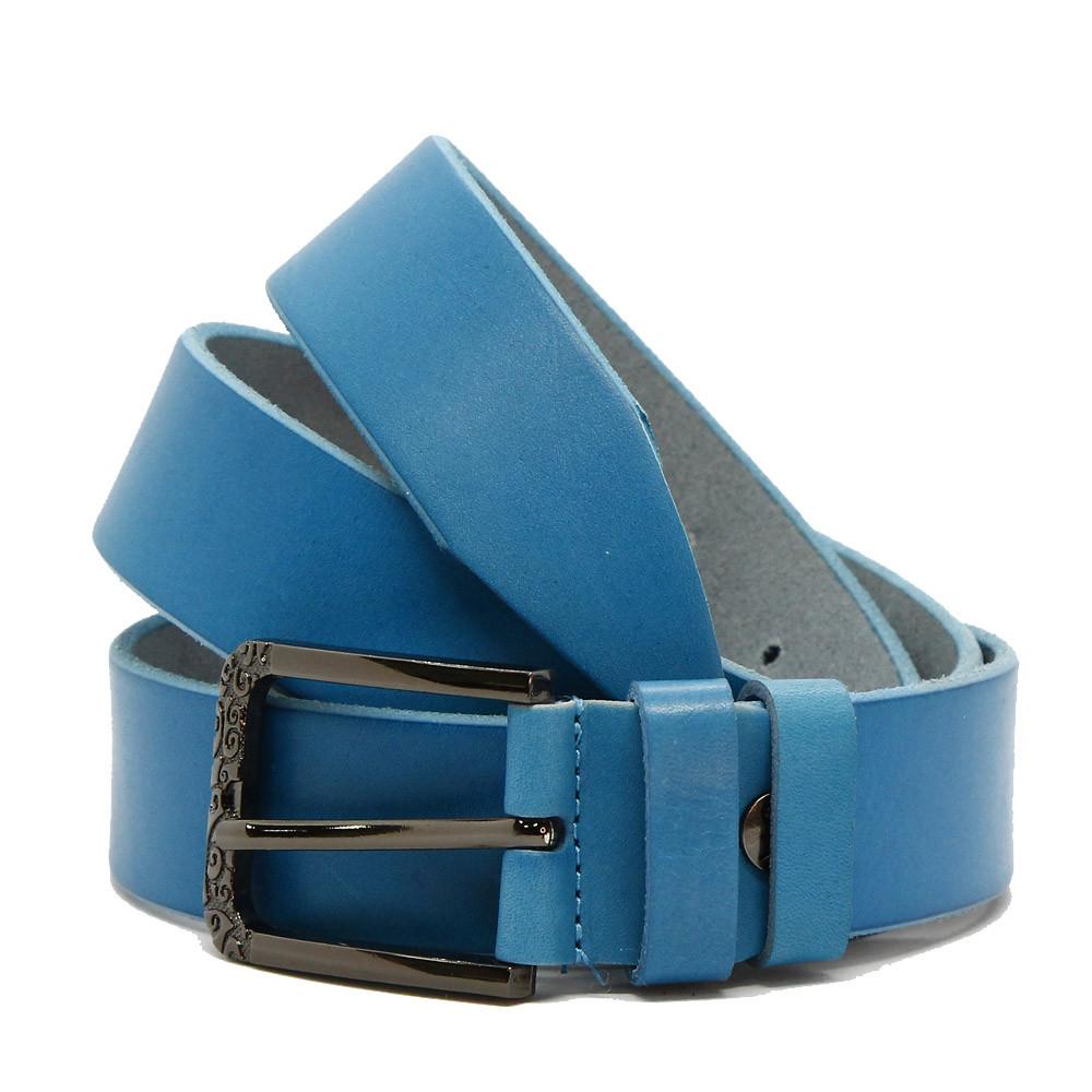Кожаный ремень 6702 Голубой