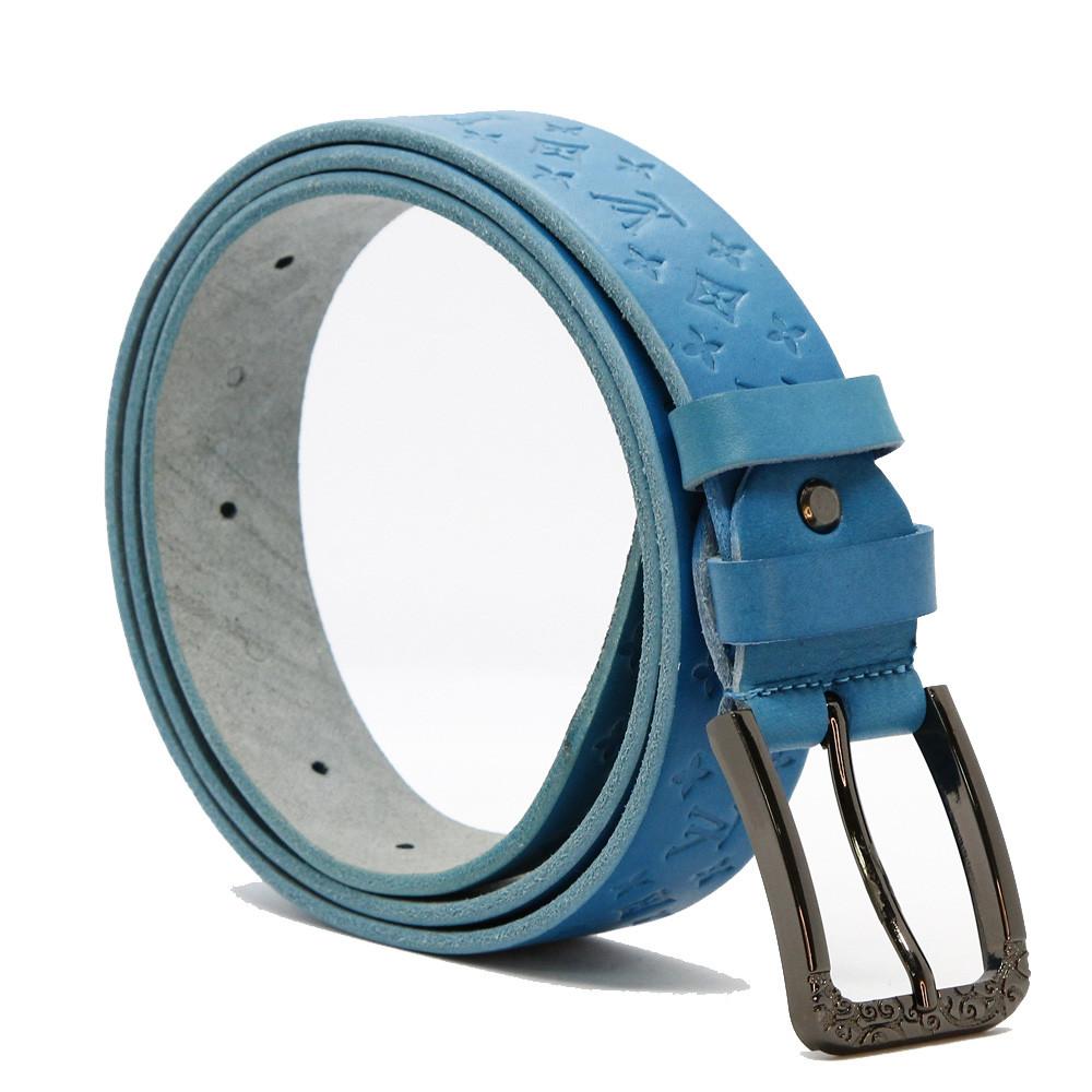 Кожаный ремень 6720 Голубой