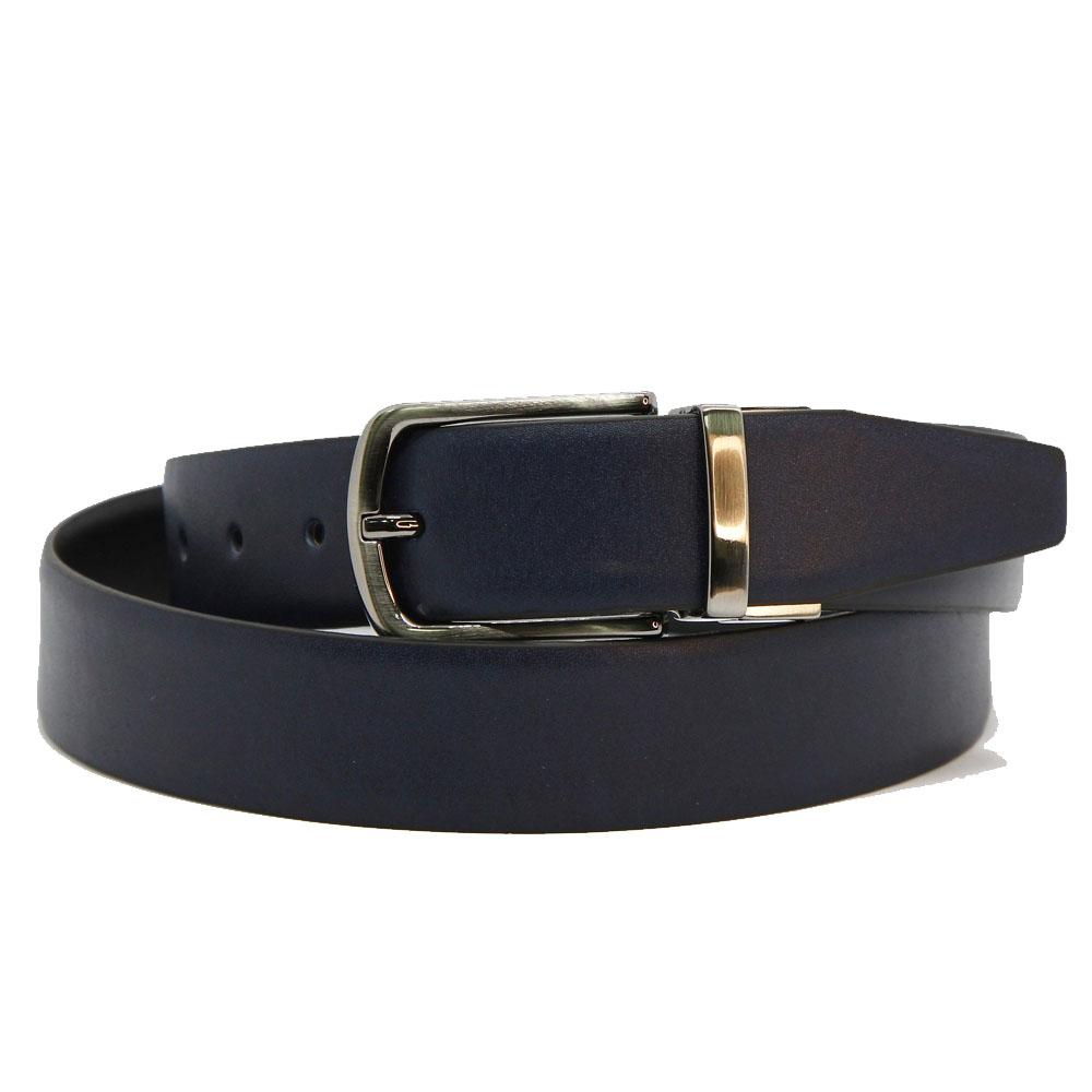 Ремень кожаный двухсторонний 6881 Синий+черный