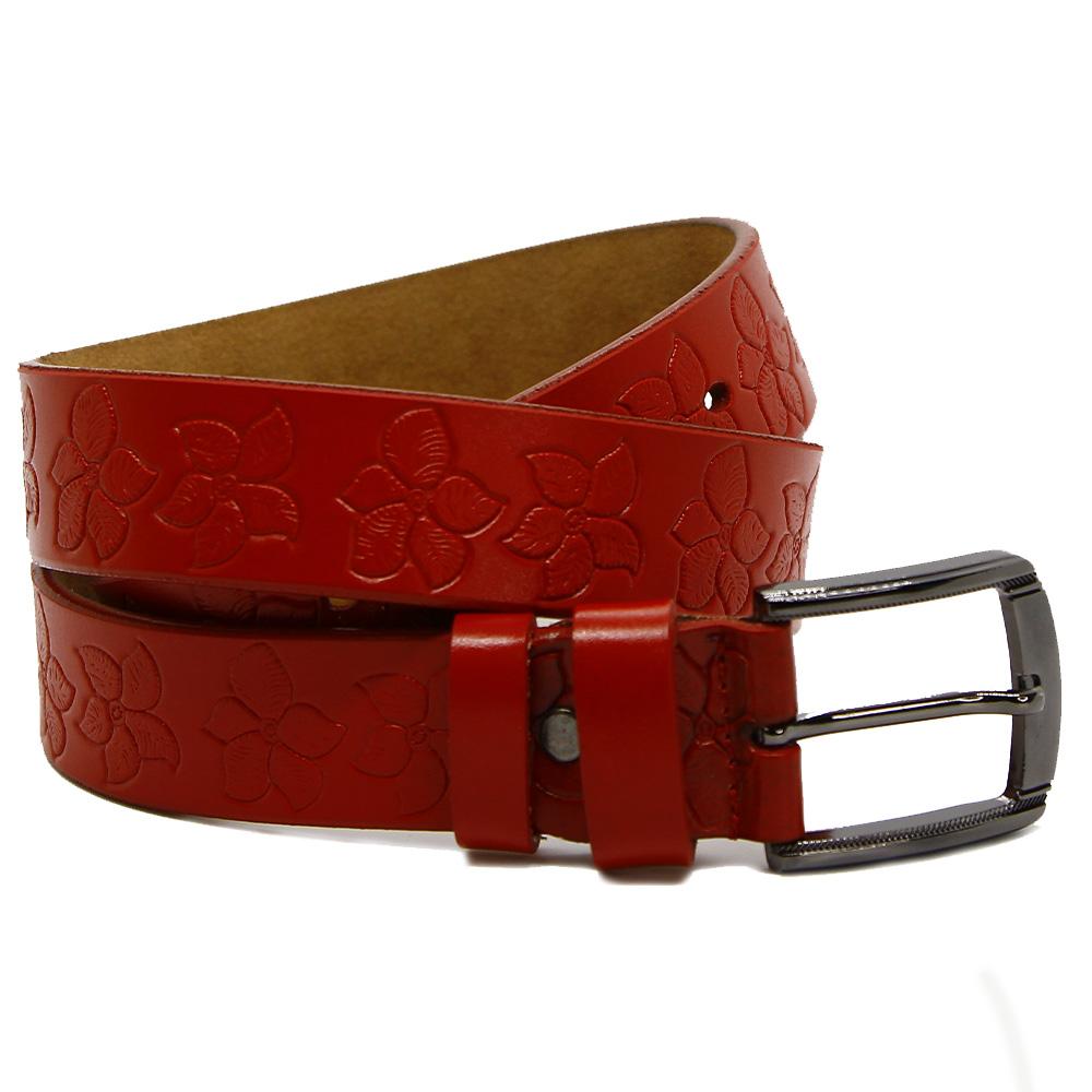 Кожаный ремень 7760 Красный