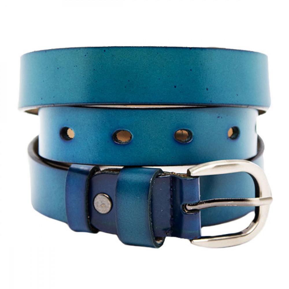 Женский ремень 5520 Кожаный Синий