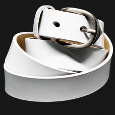 Женский ремень 5558 Кожаный Белый