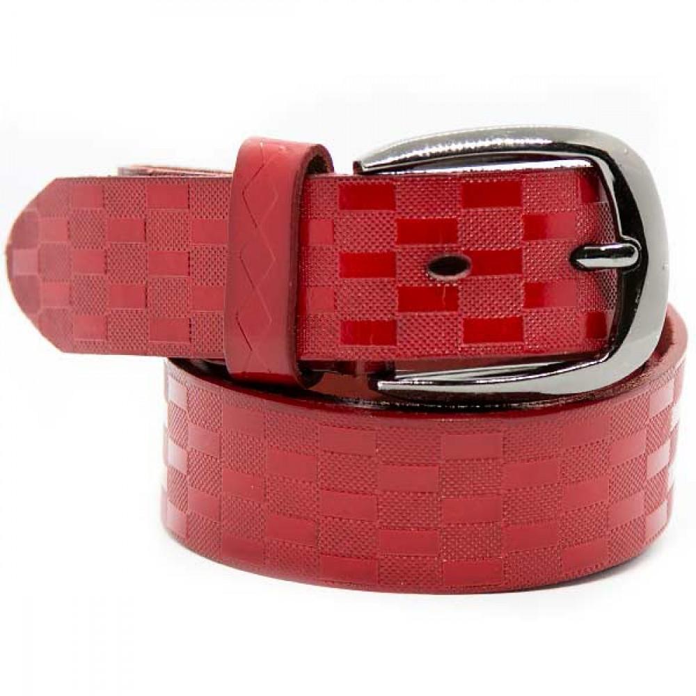 Женский ремень 5632 Кожаный Красный